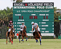 WELLINGTON, FL - APRIL 25:  Adolfo Cambiaso of Valiente (Argentinian Flag helmet) controls the ball down the field. Valiente defeats Orchard Hill 13-12, in OT,  in the US Open Polo Championship Final, to win the U. S. Polo Triple Crown, at the International Polo Club Palm Beach, on April 25, 2017 in Wellington, Florida. (Photo by Liz Lamont/Eclipse Sportswire/Getty Images)