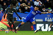 18th March 2018, King Power Stadium, Leicester, England; FA Cup football, quarter final, Leicester City versus Chelsea; Danny Simpson of Leicester City challenges Ngolo Kante of Chelsea