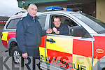 Mark Brady (Station Officer), right, presents the keys of the new fire truck to Donal Guerin (Senior ACF Officer) at Killarney Fire Station on Friday..