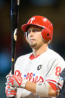 Philadelphia Phillies outfielder Shane Victorino #8 at bat during the Major League Baseball game against the Houston Astros at Minute Maid Park in Houston, Texas on September 14, 2011. Philadelphia defeated Houston 1-0 to clinch a playoff berth.  (Andrew Woolley/Four Seam Images)