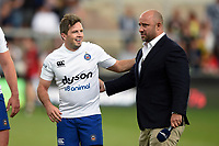 Darren Allinson of Bath Rugby with David Flatman. Premiership Rugby 7s (Day 2) on July 28, 2018 at Franklin's Gardens in Northampton, England. Photo by: Patrick Khachfe / Onside Images