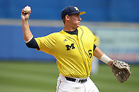 March 21, 2010:  Third Baseman John Lorenz (6) of the Michigan Wolverines in the field during a game at Tradition Field in St. Lucie, FL.  Photo By Mike Janes/Four Seam Images