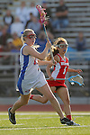 Placentia, CA 05/14/10 - Kristin Robbins (Los Alamitos # 15) and Micayla Kotzbach (Redondo #1) in action during the 2010 CIF Girls Lacrosse Championship game between Redondo Union and Los Alamitos, Los Alamitos defeated Redondo 24-7.
