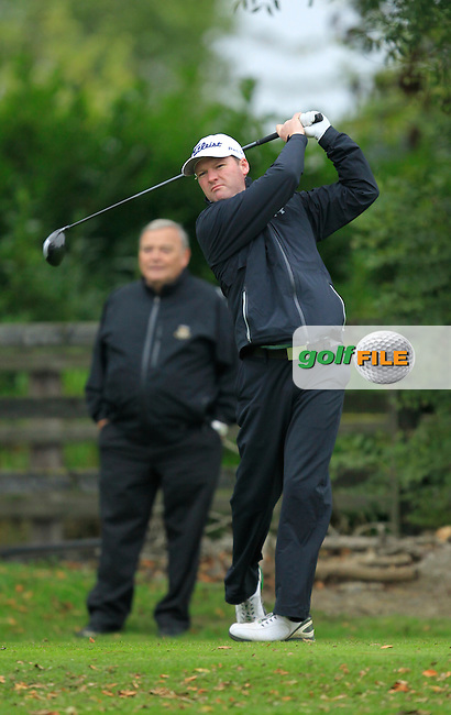 John Dwyer (Ashbourne G.C) on the 1st tee during Round 3 of The Cassidy Golf 103rd Irish PGA Championship in Roganstown Golf Club on Saturday 12th October 2013.<br /> Picture:  Thos Caffrey / www.golffile.ie
