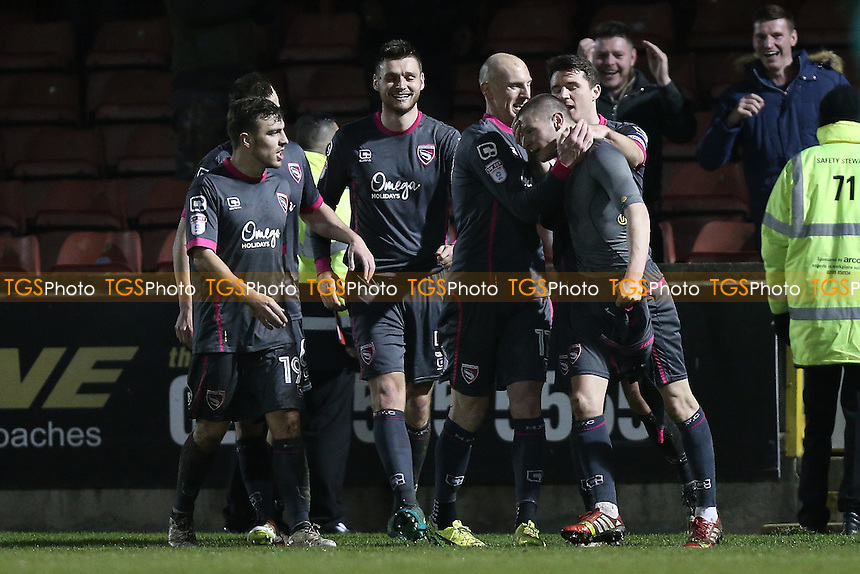 Paul Mullin of Morecambe (2nd R) scores the first goal for his team and celebrates during Leyton Orient vs Morecambe, Sky Bet EFL League 2 Football at the Matchroom Stadium on 7th February 2017