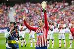 Antoine Griezmann of Atletico Madrid with the trophy of the world cup, won with the French team in the last world cup in Russia before the match between Real Madrid v Rayo Vallecano of LaLiga, 2018-2019 season, date 2. Wanda Metropolitano Stadium. Madrid, Spain - 25 August 2018. Mandatory credit: Ana Marcos / PRESSINPHOTO