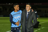 Paris Cowan-Hall of Wycombe Wanderers and Luke O'Nien of Wycombe Wanderers ahead of the The Checkatrade Trophy match between Wycombe Wanderers and West Ham United U21 at Adams Park, High Wycombe, England on 4 October 2016. Photo by David Horn.