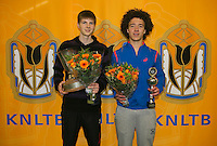 Rotterdam, The Netherlands, 15.03.2014. NOJK 14 and 18 years ,National Indoor Juniors Championships of 2014, Trophy giving on court, winner boys 18 years Gijs Brouwer(L) and runner up boys 18 years Casper Bonapart<br /> Photo:Tennisimages/Henk Koster