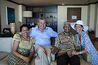 CAPE TOWN, SOUTH AFRICA – APRIL 2: Former President Nelson Mandela of South Africa poses for pictures with his wife Graca Machel, Sol Kerzner and Heather Kerzner on April 2, 2009 at the One&Only hotel in Cape Town, South Africa. Mr. Kerzner, a hotel magnate, invited Mr. Mandela to the opening of his latest hotel located at the W&A Waterfront in the city. (Photo by Per-Anders Pettersson)