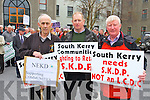 Bernard Collins Chair of North and East Kerry Development, George Kelly Vice Chairman of South Kerry Development Partnership, Eugene Dennehy, Board Member South Kerry Partnership at the South Kerry Development Partnership  Alignment Protest Meeting outside of the Kerry County Council Monthly Meeting on Monday