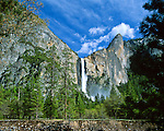 """Bridalveil Fall, 617 ft (188m), seasonal flows year round. Ahwahneechee Native Americans called this waterfall Pohono, """"Spirit of the Puffing Wind"""". Yosemite National Park (est. 1906), 761,268 acres (3,080.74 km2), 1,189 sq mi (3,080 km2). Park elevations range from 2,127 to 13,114 feet (648 to 3,997 m) and contains five major vegetation zones: chaparral/oak woodland, lower montane, upper montane, subalpine, and alpine. Yosemite Valley carved by glacial movement about 1 million years ago. World Heritage Site (1984). Mariposa County, CA."""