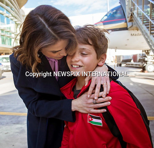 14.02.2017; Amman, Jordan: QUEEN RANIA<br />hugs son Prince Hashem when she collected him at the airport on his return from Dubai.<br />Prince Hashem was participating in the Middle Eastern Unity Cup Football Championship, which his team won.<br />Mandatory Photo Credit: &copy;Royal Hashemite Court/NEWSPIX INTERNATIONAL<br /><br />PHOTO CREDIT MANDATORY!!: NEWSPIX INTERNATIONAL(Failure to credit will incur a surcharge of 100% of reproduction fees)<br /><br />IMMEDIATE CONFIRMATION OF USAGE REQUIRED:<br />Newspix International, 31 Chinnery Hill, Bishop's Stortford, ENGLAND CM23 3PS<br />Tel:+441279 324672  ; Fax: +441279656877<br />Mobile:  0777568 1153<br />e-mail: info@newspixinternational.co.uk<br />&ldquo;All Fees Payable To Newspix International&rdquo;
