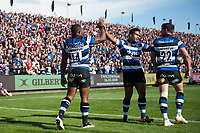 Semesa Rokoduguni of Bath Rugby celebrates his second-half try with team-mate Ben Tapuai. Aviva Premiership match, between Bath Rugby and Saracens on September 9, 2017 at the Recreation Ground in Bath, England. Photo by: Patrick Khachfe / Onside Images