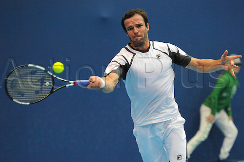 28.10.2015. Basel, Switzerland. Basel Swiss Indoor Tennis Championships. Day Four. Teymuraz Gabashvili in action in the match between Leonardo Mayer of Argentina and Teymuraz Gabashvili of Russia