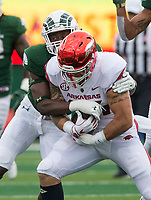 NWA Democrat-Gazette/BEN GOFF @NWABENGOFF<br /> Austin Cantrell, Arkansas tight end, catches a pass in the 1st quarter vs Colorado State Saturday, Sept. 8, 2018, at Canvas Stadium in Fort Collins, Colo.