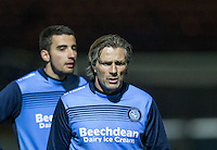 Wycombe Wanderers Manager Gareth Ainsworth warms up after naming himself on the bench during the The Checkatrade Trophy Southern Group D match between Wycombe Wanderers and Coventry City at Adams Park, High Wycombe, England on 9 November 2016. Photo by Andy Rowland.