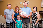 Baby Finn O'Sullivan with his parents Margaret & Paddy O'Sullivan, ballyduff and god parents Tim O'Sullivan & Noreen O'Sullivan and brother Luke  who was christened in Ballyduff Church by Fr. Brendan Walsh and afterwards at the Listowel Arms Hotel on Sunday Last.