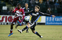 Bobby Convey battles for the ball. FC Dallas defeated the San Jose Earthquakes 2-1 at Buck Shaw Stadium in Santa Clara, California on October 7, 2009.