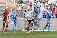 Bridgeview, IL, USA - Saturday, April 23, 2016: Chicago Red Stars goalkeeper Alyssa Naeher (1) during a regular season National Women's Soccer League match between the Chicago Red Stars and the Western New York Flash at Toyota Park. Chicago won 1-0.