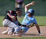Belleville East's Gage Cruz (right) slides safely into second base as Alton's Dylan Lahue tries to put the tag on him. Alton defeated Belleville East in a Class 4A regional semifinal at Alton High School in Alton, IL on Thursday May 23, 2019.<br /> Tim Vizer/Special to STLhighschoolsports.com