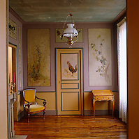 Delicately painted murals of country life adorn the panelling of an elegant ante-chamber in the former atelier of Charles Daubigny which is now a museum
