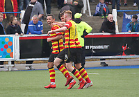 Scott McDonald after scoring the second Partick Thistle goal in the SPFL Ladbrokes Championship football match between Queen of the South and Partick Thistle at Palmerston Park, Dumfries on  4.5.19.