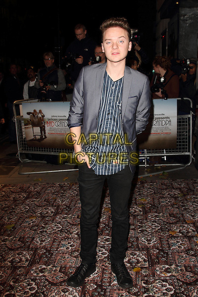 Conor Maynard<br /> UK Premiere of 'Jackass Presents - Bad Grandpa' at the Odeon Covent Garden, London, England.<br /> October 9th 2013<br /> full length black grey gray suit jacket stripe shirt jeans denim<br /> CAP/ROS<br /> &copy;Steve Ross/Capital Pictures