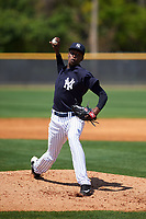 New York Yankees pitcher Juan De Paula (41) during a minor league Spring Training game against the Detroit Tigers on March 22, 2017 at the Yankees Complex in Tampa, Florida.  (Mike Janes/Four Seam Images)
