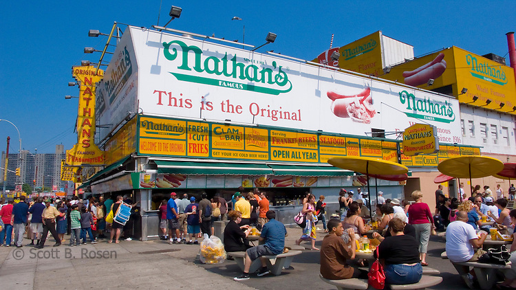 Nathan's Famous Hotdogs, a landmark eatery in Coney Island, Brooklyn, New York