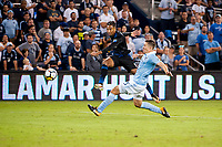 Kansas City, KS - Wednesday August 9, 2017: Danny Hoesen, Matt Besler during a Lamar Hunt U.S. Open Cup Semifinal match between Sporting Kansas City and the San Jose Earthquakes at Children's Mercy Park.