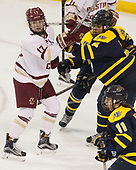 Delaney Belinskas (BC - 17), Felila Manu (Merrimack - 4) - The number one seeded Boston College Eagles defeated the eight seeded Merrimack College Warriors 1-0 to sweep their Hockey East quarterfinal series on Friday, February 24, 2017, at Kelley Rink in Conte Forum in Chestnut Hill, Massachusetts.The number one seeded Boston College Eagles defeated the eight seeded Merrimack College Warriors 1-0 to sweep their Hockey East quarterfinal series on Friday, February 24, 2017, at Kelley Rink in Conte Forum in Chestnut Hill, Massachusetts.