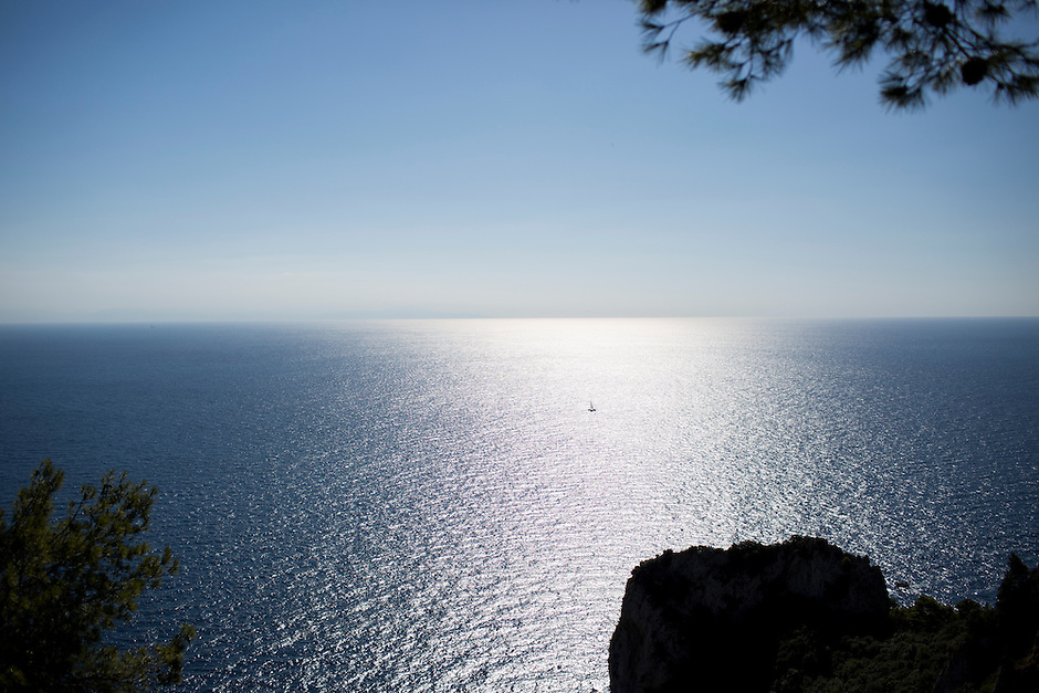 A sailboat is seen in the Tyrrhenian Sea on Tuesday, Sept. 22, 2015, from the island of Capri in Italy. (Photo by James Brosher)