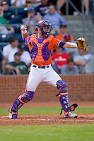 Catcher John Nester #17 of the Clemson Tigers on defense versus the Duke Blue Devils at Durham Bulls Athletic Park May 22, 2009 in Durham, North Carolina.  (Photo by Brian Westerholt / Four Seam Images)