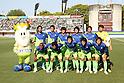 "Shonan Bellmare team group line-up, MAY 8th, 2011 - Football : Shonan Bellmare players (Top row - L to R) Yuki Maki, Naoya Ishigami, Ryuta Sasaki, Wataru Endo, Kentaro Oi, Yohei Nishibe, (Bottom row - L to R) Adiel, Kohei Usui, Han Kook Young, Ryota Nagaki and Koji Sakamoto pose for a team photo with the club mascot ""King Bell Çh"" before the 2011 J.League Division 2 match between Shonan Bellmare 1-1 Ehime FC at Hiratsuka Stadium in Kanagawa, Japan. (Photo by Kenzaburo Matsuoka/AFLO).."