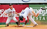 25 July 2010: Tri-City ValleyCats infielder Ben Orloff gets Kevin Keyes out at second during game action against the Vermont Lake Monsters at Centennial Field in Burlington, Vermont. The ValleyCats came from behind to defeat the Lake Monsters 10-8 in NY Penn League action. Mandatory Credit: Ed Wolfstein Photo