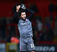 Lincoln City's Matt Green applauds the fans at the final whistle<br /> <br /> Photographer Andrew Vaughan/CameraSport<br /> <br /> The EFL Sky Bet League Two - Stevenage v Lincoln City - Saturday 8th December 2018 - The Lamex Stadium - Stevenage<br /> <br /> World Copyright © 2018 CameraSport. All rights reserved. 43 Linden Ave. Countesthorpe. Leicester. England. LE8 5PG - Tel: +44 (0) 116 277 4147 - admin@camerasport.com - www.camerasport.com