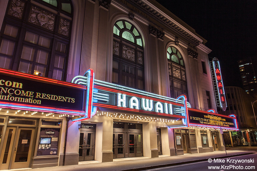 Hawaii Theatre at night, Honolulu