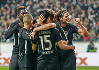 celebrate the goal, Torjubel zum 2:0 Martin Hinteregger (Eintracht Frankfurt) und David Abraham (Eintracht Frankfurt),Mijat Gacinovic (Eintracht Frankfurt), Daichi Kamada (Eintracht Frankfurt), Goncalo Paciencia (Eintracht Frankfurt) - 24.10.2019:  Eintracht Frankfurt vs. Standard Lüttich, UEFA Europa League, Gruppenphase, Commerzbank Arena<br /> DISCLAIMER: DFL regulations prohibit any use of photographs as image sequences and/or quasi-video.