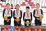 Japan team group (JPN), <br /> AUGUST 28, 2018 - Cycling - Track : Women's Team Pursuit Victory ceremony at Jakarta International Velodrome during the 2018 Jakarta Palembang Asian Games in Jakarta, Indonesia. <br /> (Photo by MATSUO.K/AFLO SPORT)