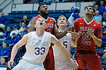 January 11, 2017:  Air Force center, Frank Toohey #33, fights for rebound position during the NCAA basketball game between the Fresno State Bulldogs and the Air Force Academy Falcons, Clune Arena, U.S. Air Force Academy, Colorado Springs, Colorado.  Air Force defeats Fresno State 81-72.
