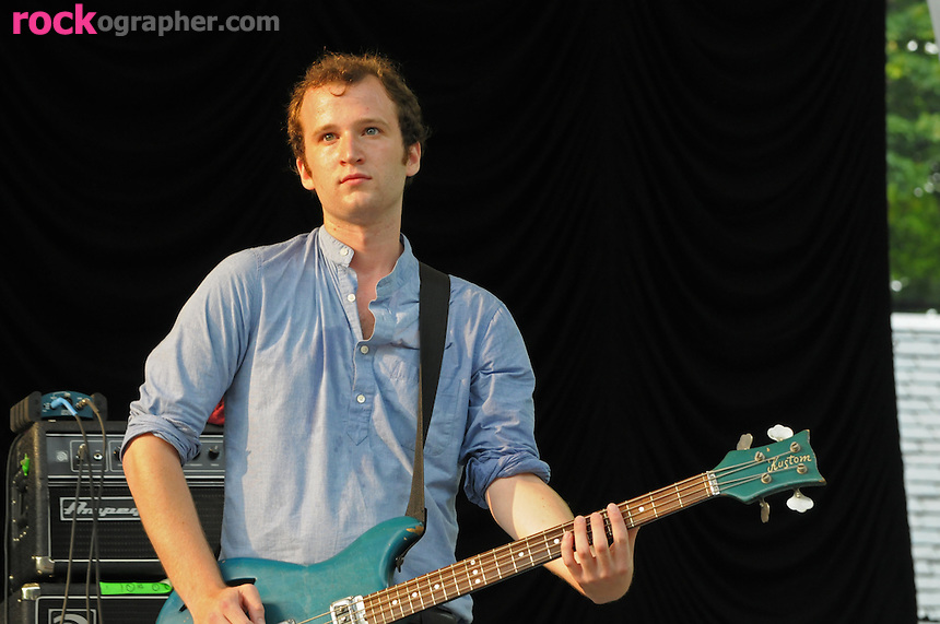 Bass player Chris Baio of Brooklyn NY based indie alt rockers Vampire Weekend performs at Summer Stage in Central Park NYC ( June 14, 2008)