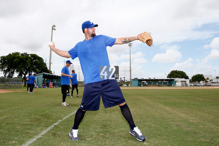 19 September 2012: France Eric Gagne warms up prior to Team France friendly game won 6-3 against Palm Beach State College, during the 2012 World Baseball Classic Qualifier round, in Lake Worth, Florida, USA.