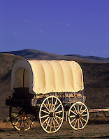 Covered wagon at Oregon Trail Interpretive Center. Near Baker City, Oregon