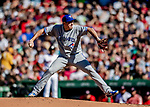 Jun 22, 2019; Boston, MA, USA; Toronto Blue Jays starting pitcher Derek Law on the mound in the second inning against the Boston Red Sox at Fenway Park. Mandatory Credit: Ed Wolfstein-USA TODAY Sports