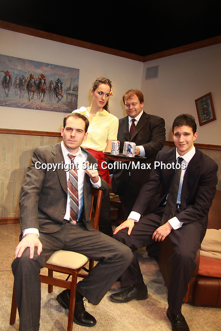 """(L to R) Jared Culverhouse, Beth Wittig, Malcolm Madera (AMC & GL), Jake Silbermann (ATWT) at the Dress Rehearsal on November 28, 2011 - New York, NY – The Camisade Theatre Company proudly presents their inaugural theatrical production, the World Premiere of """"Derby Day""""  Camisade Theatre Company is founded by Jake Silbermann, Malcolm Madera and Samuel Brett Williams. (Photo by Sue Coflin/Max Photos)"""