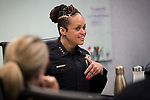 Portland Police Bureau Chief Danielle Outlaw lets her staff know that she found out that she'll will be knighted during the Rose Festival week during a weekly meeting at Central Precinct.<br /> Photo by Jaime Valdez