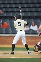 Patrick Frick (5) of the Wake Forest Demon Deacons at bat against the Virginia Cavaliers at David F. Couch Ballpark on May 19, 2018 in  Winston-Salem, North Carolina. The Demon Deacons defeated the Cavaliers 18-12. (Brian Westerholt/Four Seam Images)
