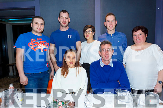 Double celebrations for O'Sullivan family from Tullig, Cahersiveen with Jill celebrating her 21st and Dad Mike celebrating his 50th birthdays in the Sea Lodge Waterville on Saturday night also pictured back l-r; Niall Hartnett, Mark Harmon, Norma O'Sullivan, Morgan O'Sullivan & Colette O'Sullivan.