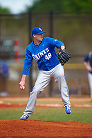 St. Scholastica Saints starting pitcher Daniel Wood (48) delivers a pitch during a game against the Southern Maine Huskies on March 20, 2016 at Lake Myrtle Park in Auburndale, Florida.  Southern Maine defeated St. Scholastica 5-3.  (Mike Janes/Four Seam Images)