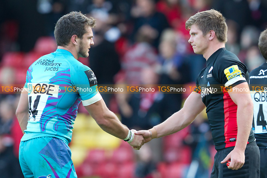Mark Foster (Exeter)and Owen Farrell (Saracens) shake hands at the end of the fixture - Saracens RFC vs Exeter Chiefs RFC - Anglo Welsh LV Cup Rugby at Vicarage Road, Watford Football Club - 23/10/11 - MANDATORY CREDIT: Ray Lawrence/TGSPHOTO - Self billing applies where appropriate - 0845 094 6026 - contact@tgsphoto.co.uk - NO UNPAID USE.